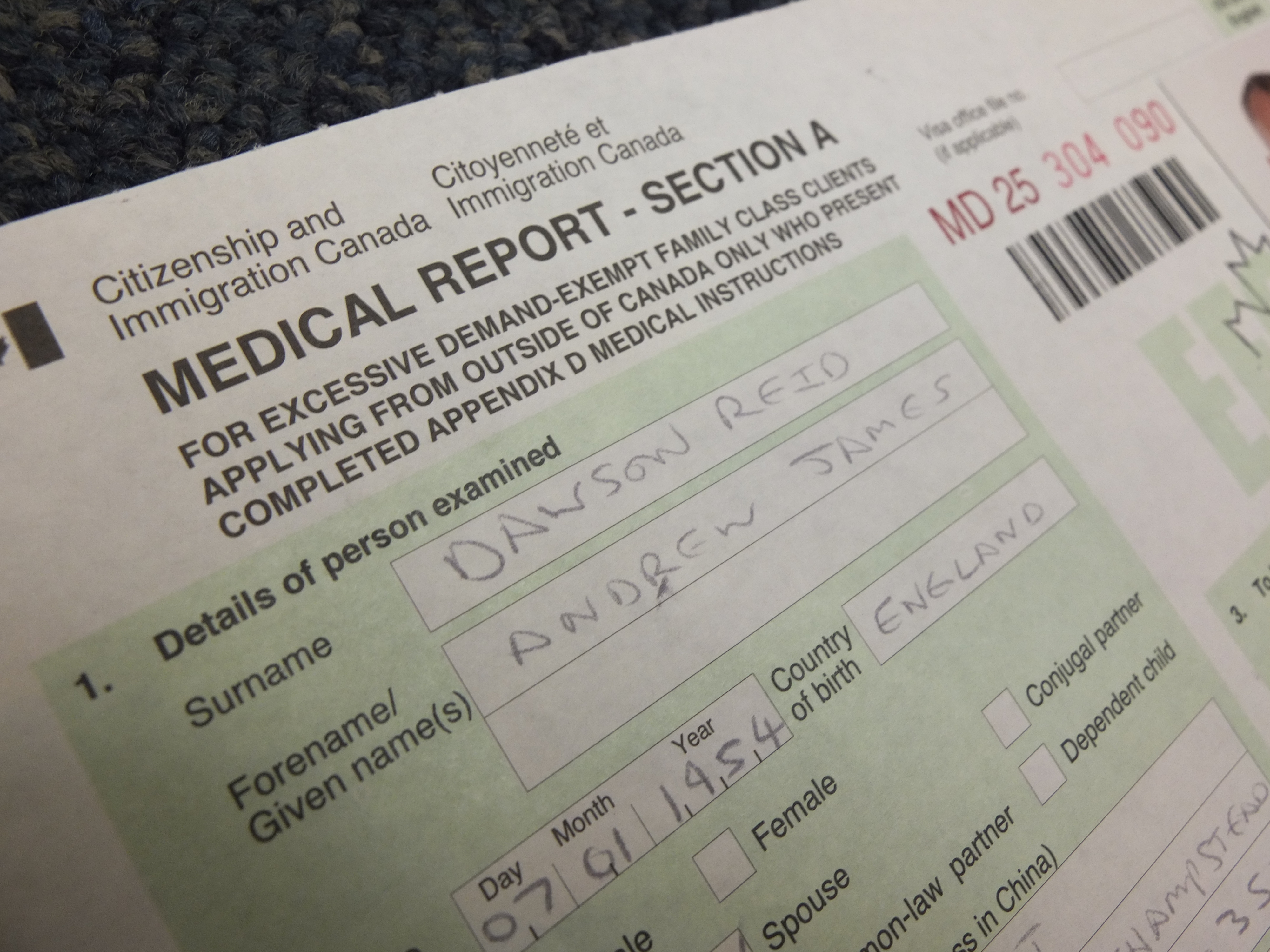 Medical Form IMM 10117 and new medical procedures